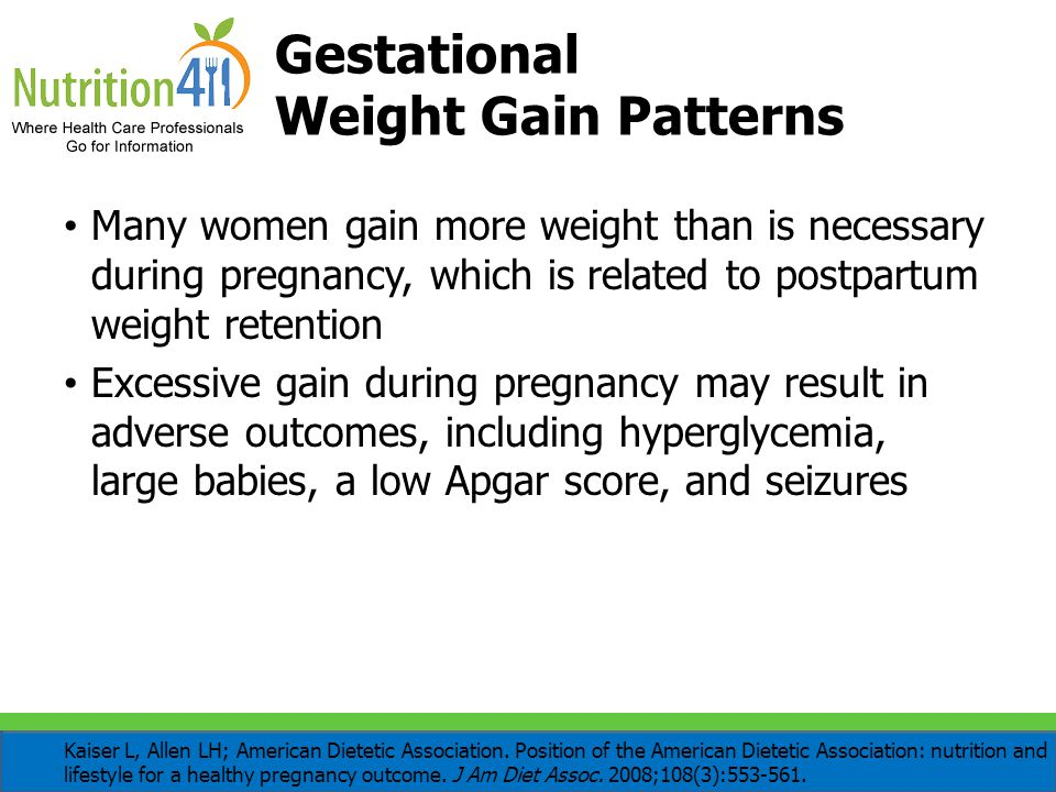 Gestational Weight Gain Patterns Many women gain more weight than is necessary during pregnancy, which is related to postpartum weight retention Exces