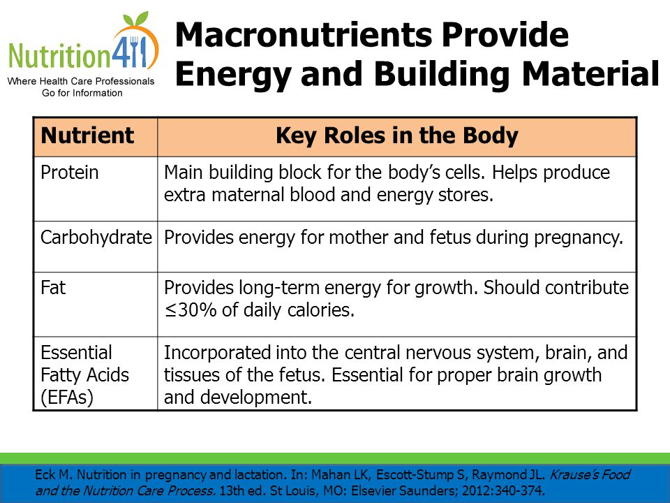 Macronutrients Provide Energy and Building Material NutrientKey Roles in the Body ProteinMain building block for the body's cells. Helps produce extra