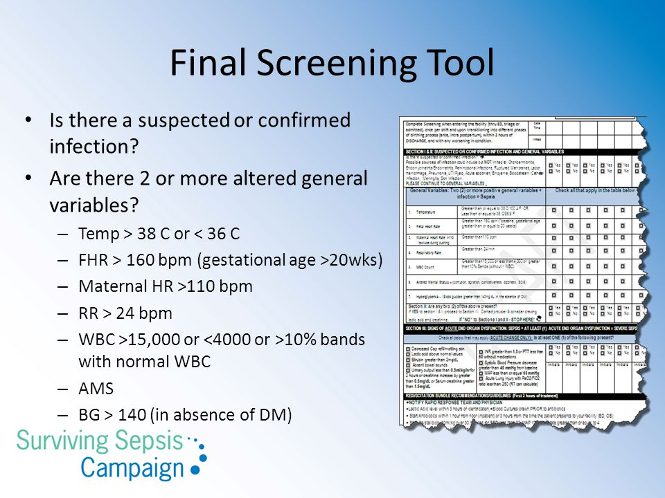 Final Screening Tool Is there a suspected or confirmed infection.