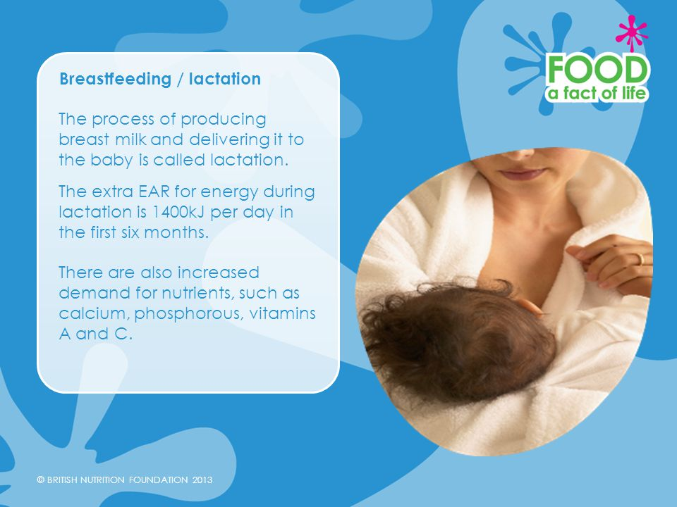 © BRITISH NUTRITION FOUNDATION 2013 Breastfeeding / lactation The process of producing breast milk and delivering it to the baby is called lactation.