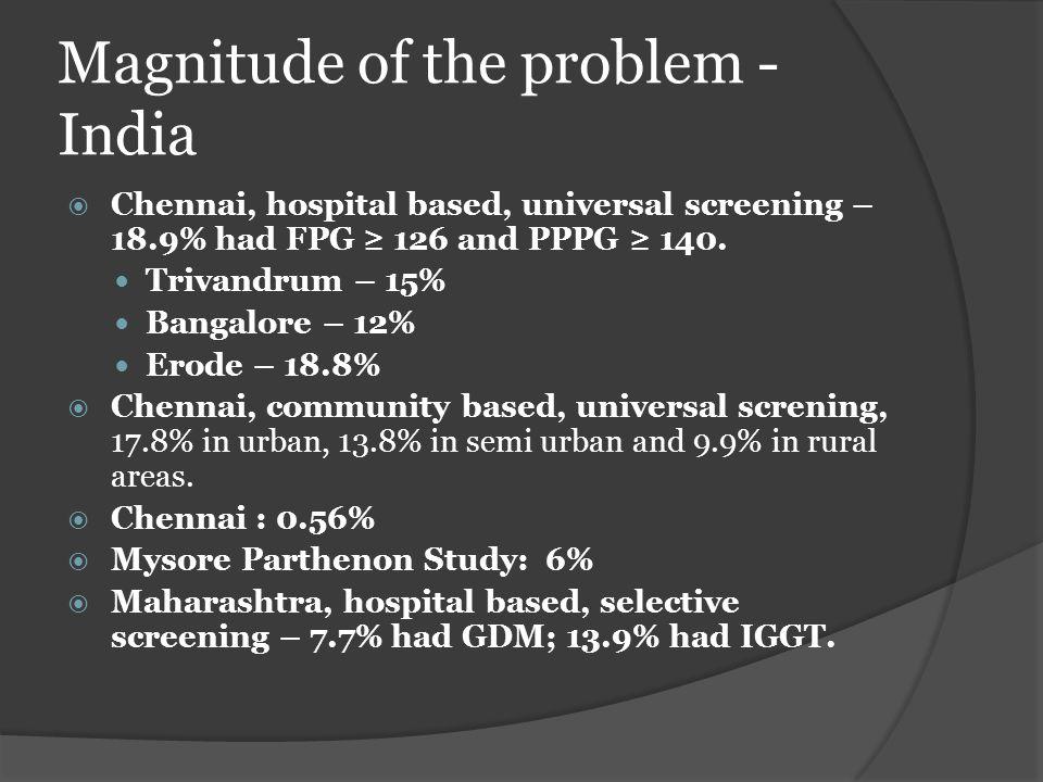 Magnitude of the problem - India  Chennai, hospital based, universal screening – 18.9% had FPG ≥ 126 and PPPG ≥ 140. Trivandrum – 15% Bangalore – 12%