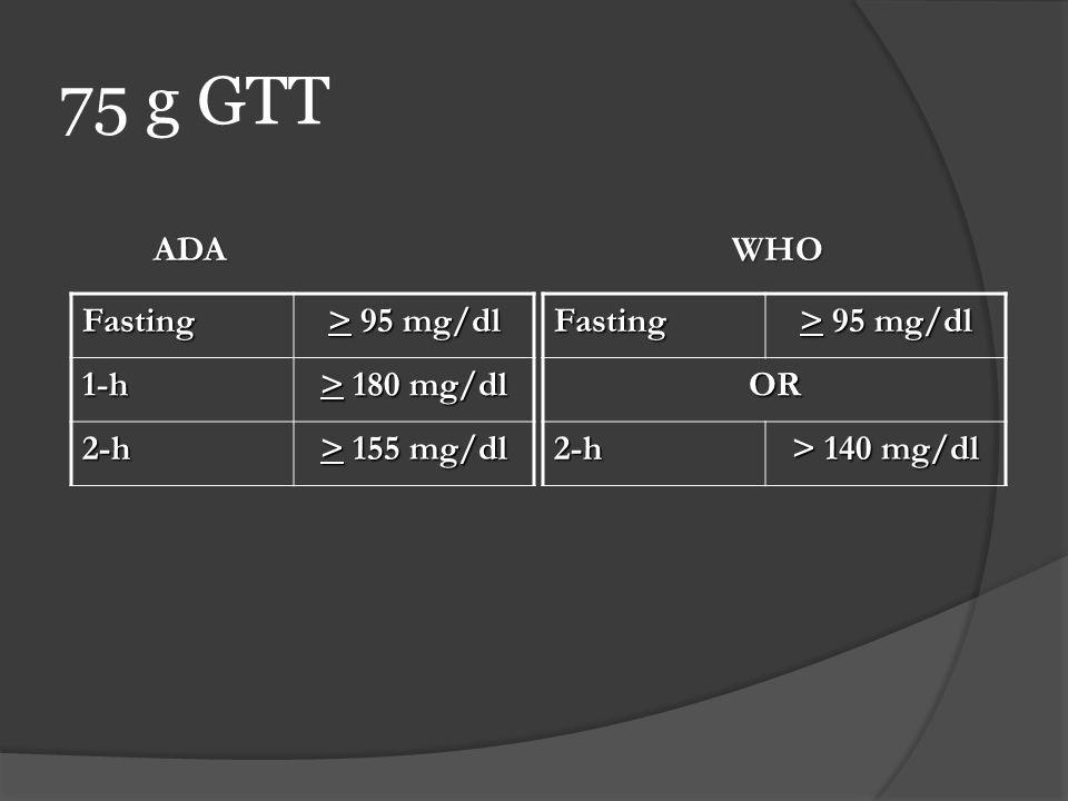 75 g GTT Fasting > 95 mg/dl 1-h > 180 mg/dl 2-h > 155 mg/dl Fasting > 95 mg/dl OR 2-h > 140 mg/dl ADAWHO