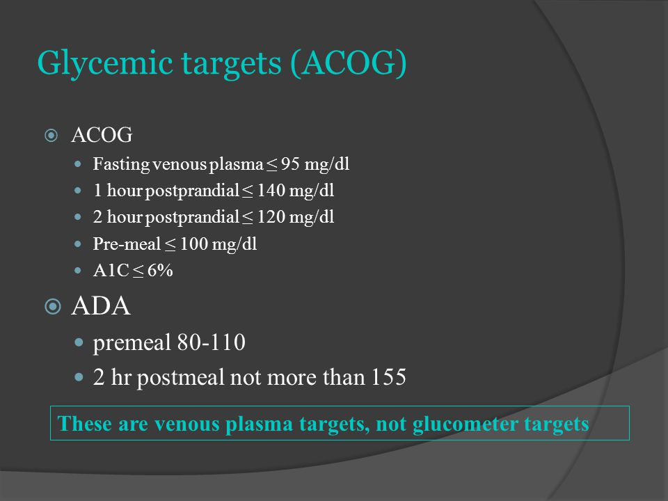 Glycemic targets (ACOG)  ACOG Fasting venous plasma ≤ 95 mg/dl 1 hour postprandial ≤ 140 mg/dl 2 hour postprandial ≤ 120 mg/dl Pre-meal ≤ 100 mg/dl A