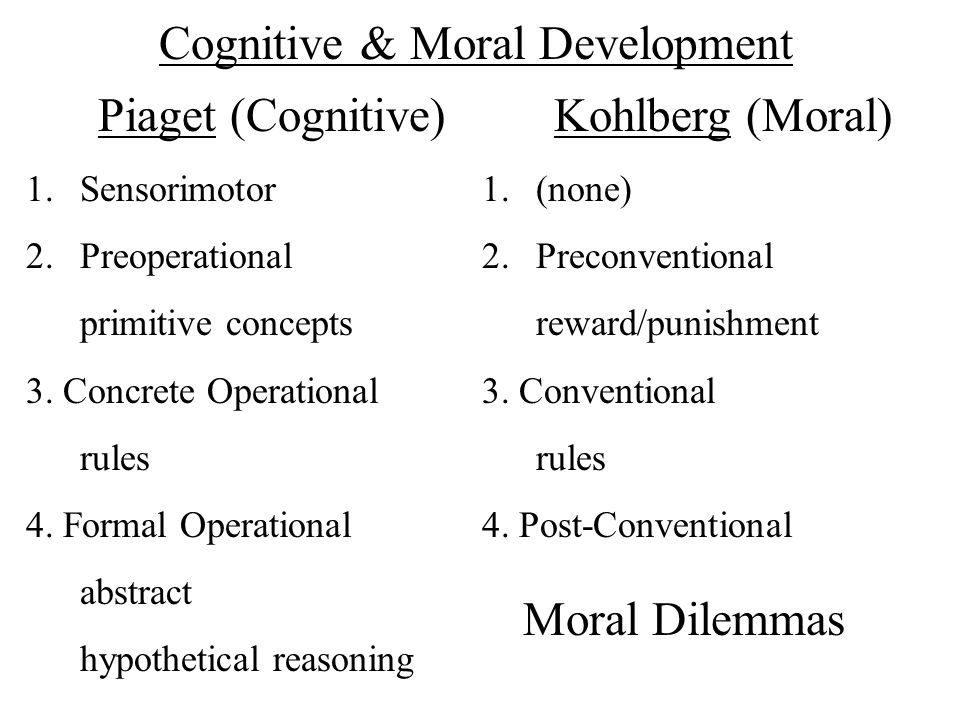 Cognitive & Moral Development Piaget (Cognitive) 1.Sensorimotor 2.Preoperational primitive concepts 3. Concrete Operational rules 4. Formal Operationa