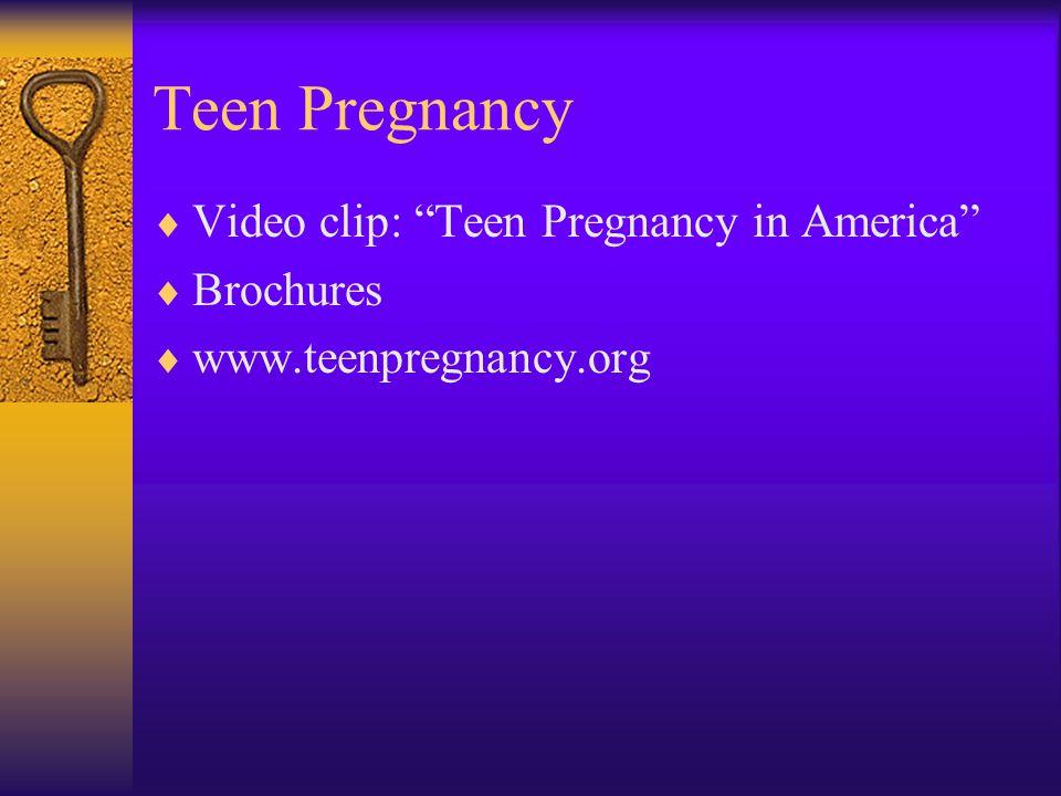 """Teen Pregnancy  Video clip: """"Teen Pregnancy in America""""  Brochures  www.teenpregnancy.org"""