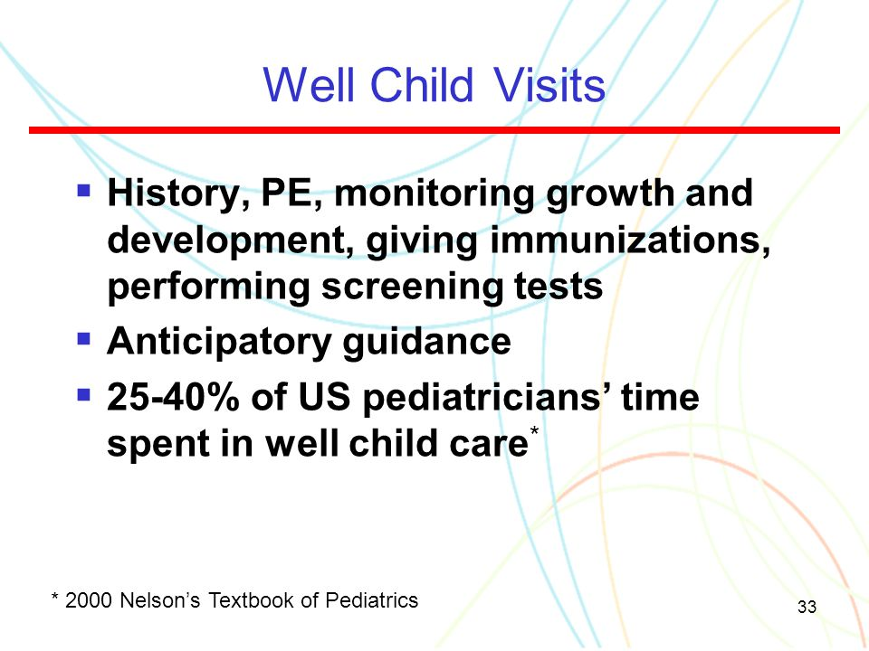 33 Well Child Visits  History, PE, monitoring growth and development, giving immunizations, performing screening tests  Anticipatory guidance  25-4
