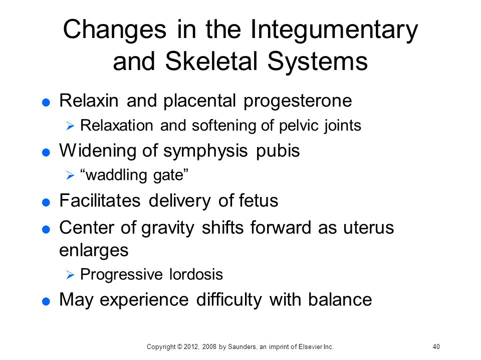 Changes in the Integumentary and Skeletal Systems  Relaxin and placental progesterone  Relaxation and softening of pelvic joints  Widening of symph