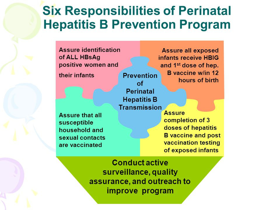 Assure identification of ALL HBsAg positive women and their infants Assure all exposed infants receive HBIG and 1 st dose of hep. B vaccine w/in 12 ho