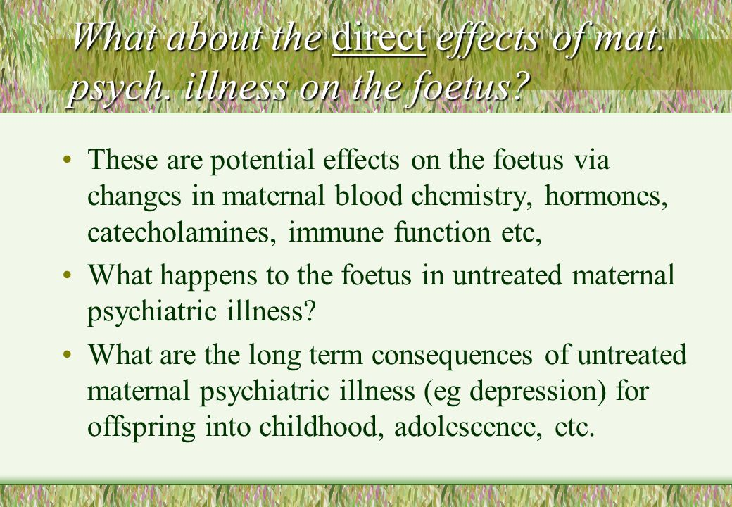 What about the direct effects of mat. psych. illness on the foetus? These are potential effects on the foetus via changes in maternal blood chemistry,