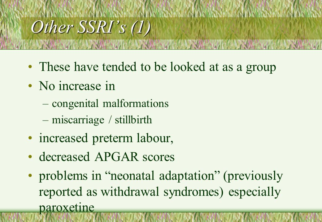 Other SSRI's (1) These have tended to be looked at as a group No increase in –congenital malformations –miscarriage / stillbirth increased preterm lab