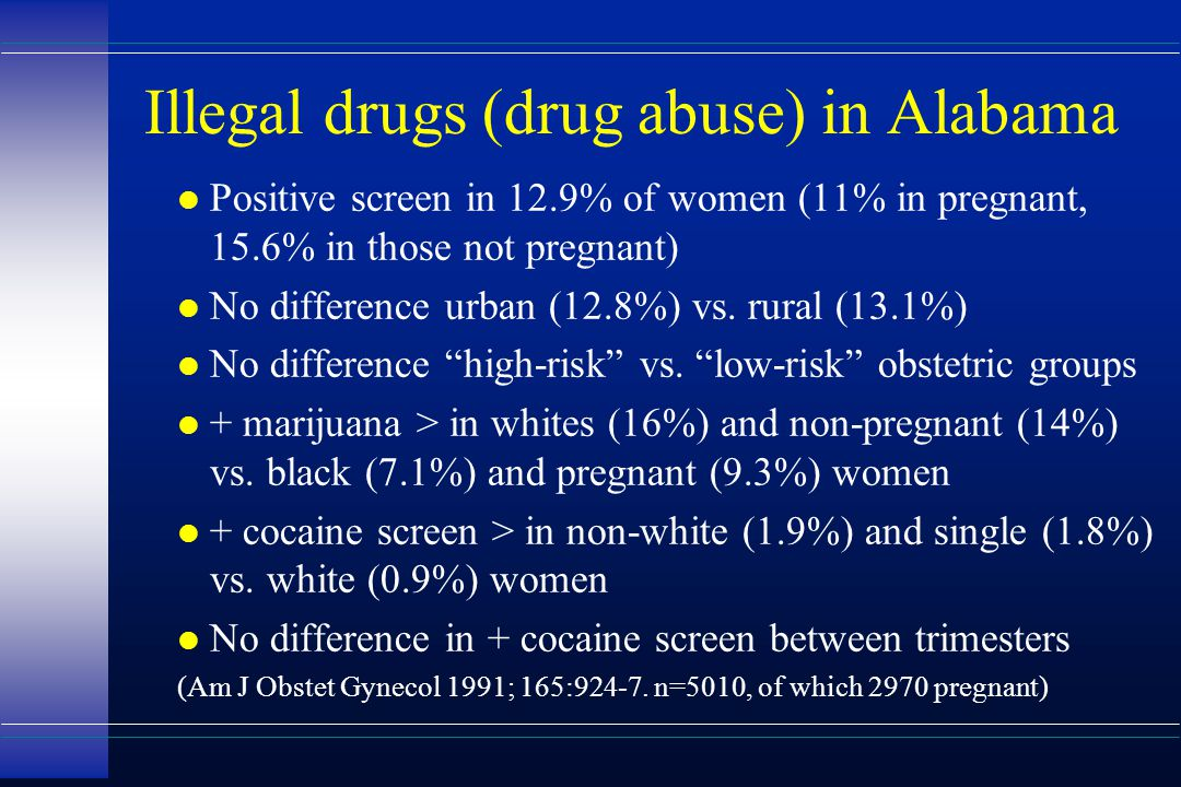 Illegal drugs (drug abuse) in Alabama l Positive screen in 12.9% of women (11% in pregnant, 15.6% in those not pregnant) l No difference urban (12.8%)