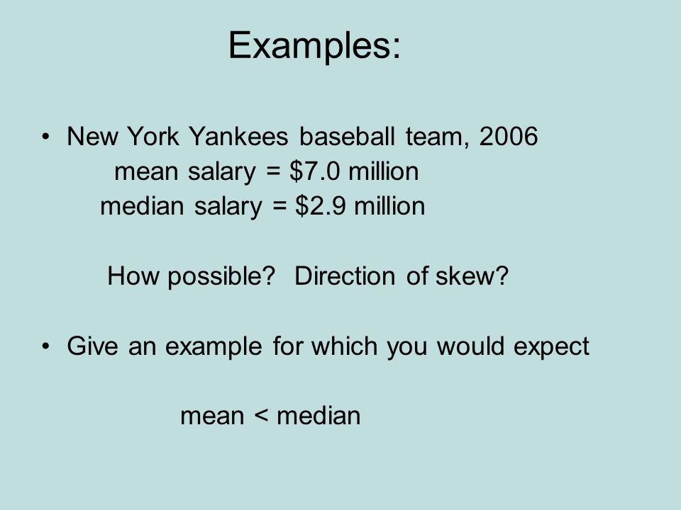 Examples: New York Yankees baseball team, 2006 mean salary = $7.0 million median salary = $2.9 million How possible.