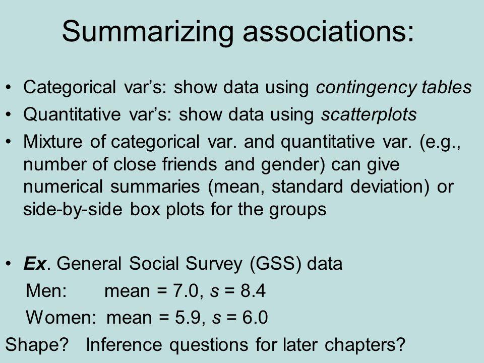 Summarizing associations: Categorical var's: show data using contingency tables Quantitative var's: show data using scatterplots Mixture of categorical var.