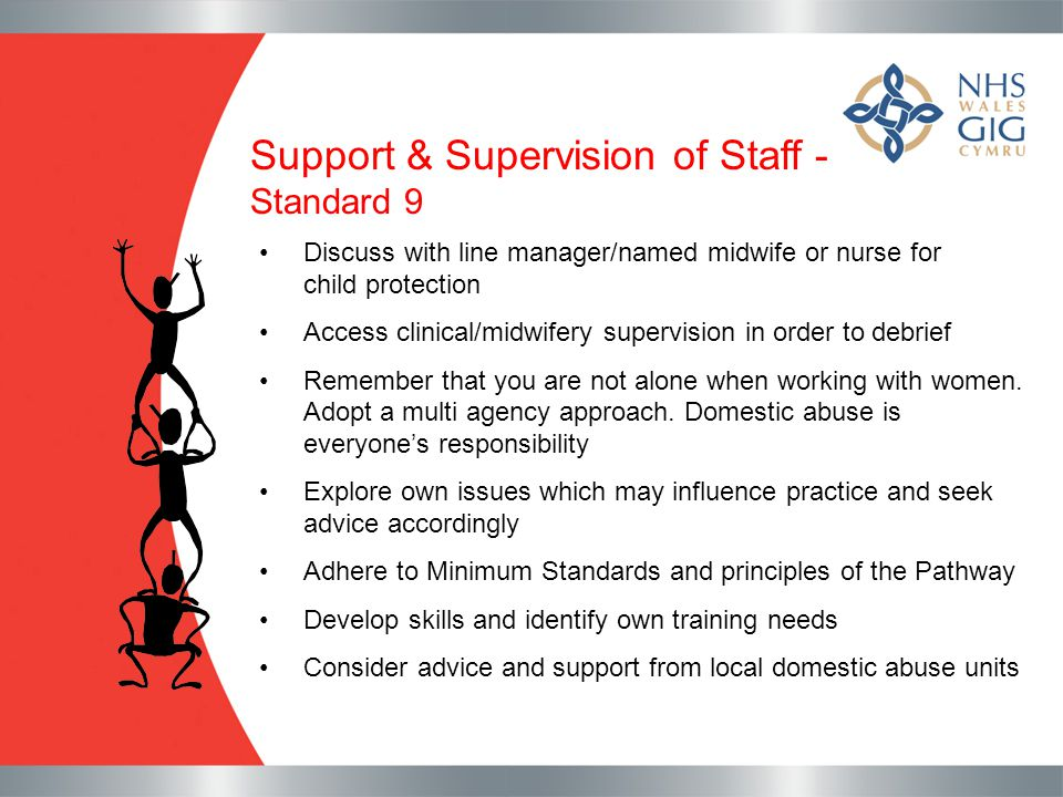 Support & Supervision of Staff - Standard 9 Discuss with line manager/named midwife or nurse for child protection Access clinical/midwifery supervisio