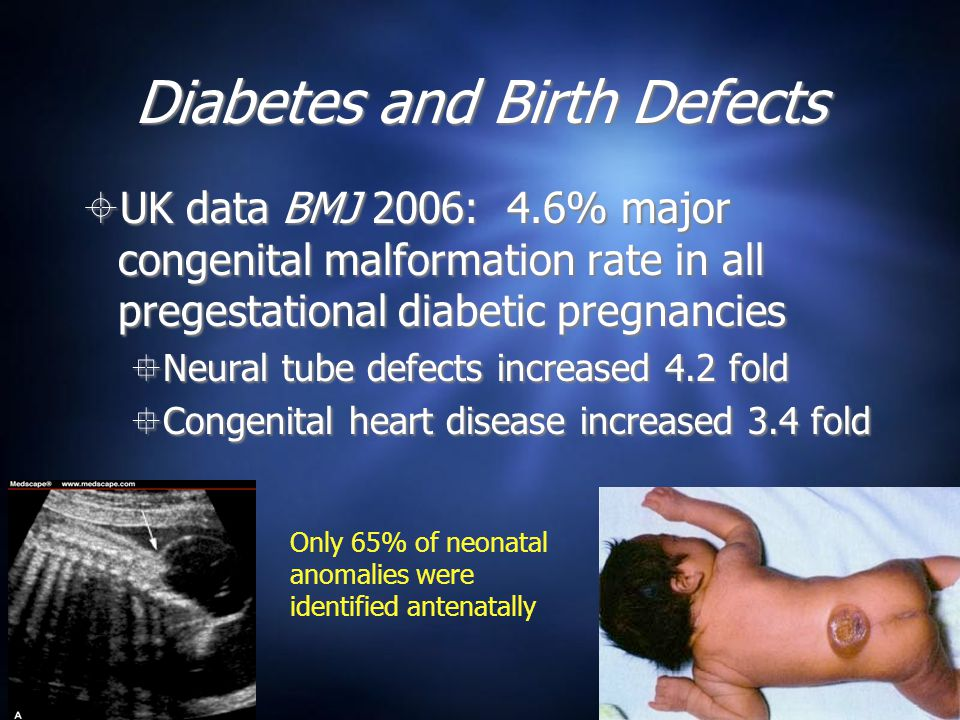 Diabetes and Birth Defects  UK data BMJ 2006: 4.6% major congenital malformation rate in all pregestational diabetic pregnancies  Neural tube defects increased 4.2 fold  Congenital heart disease increased 3.4 fold  UK data BMJ 2006: 4.6% major congenital malformation rate in all pregestational diabetic pregnancies  Neural tube defects increased 4.2 fold  Congenital heart disease increased 3.4 fold Only 65% of neonatal anomalies were identified antenatally