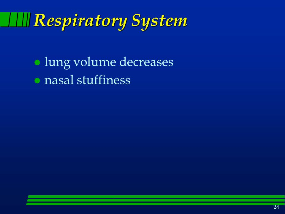 24 Respiratory System l lung volume decreases l nasal stuffiness