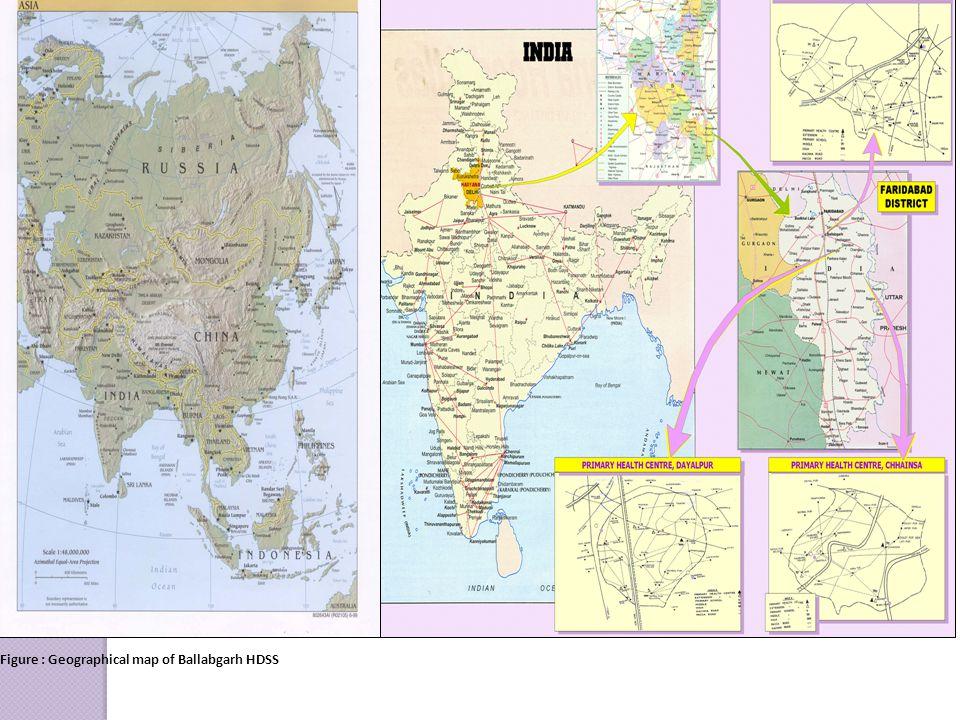 Figure : Geographical map of Ballabgarh HDSS