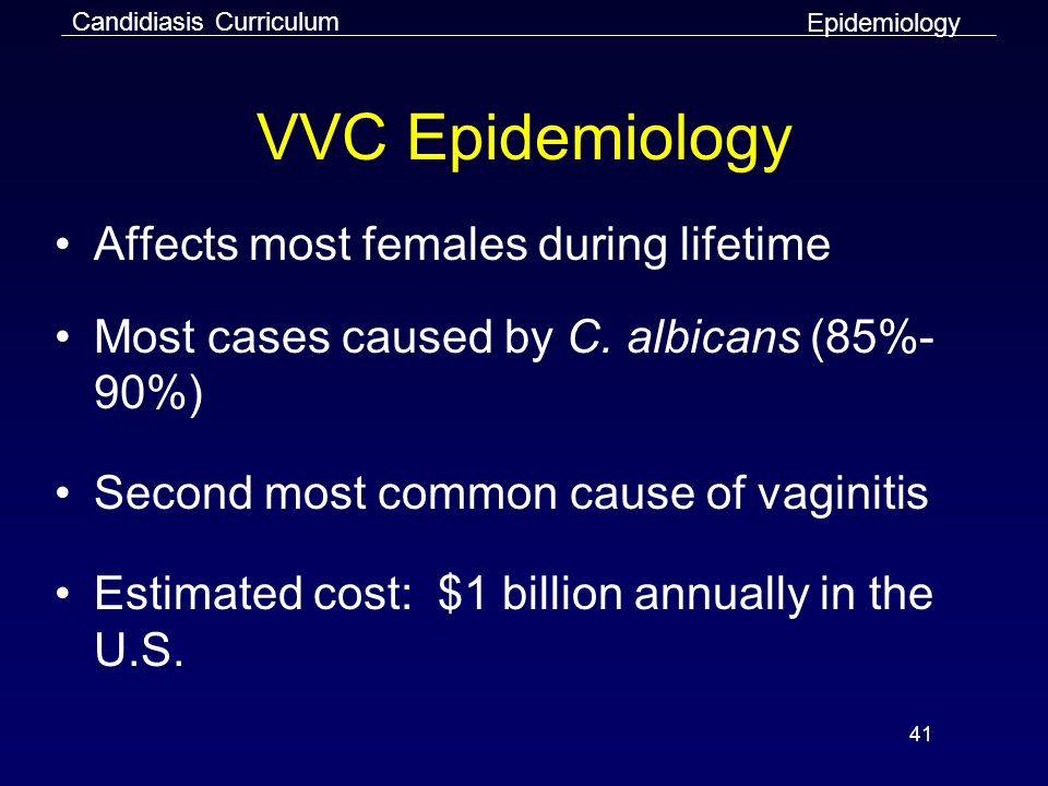 41 VVC Epidemiology Affects most females during lifetime Most cases caused by C.
