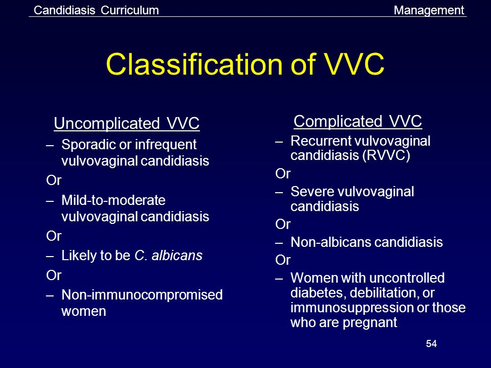 54 Classification of VVC Uncomplicated VVC –Sporadic or infrequent vulvovaginal candidiasis Or –Mild-to-moderate vulvovaginal candidiasis Or –Likely to be C.