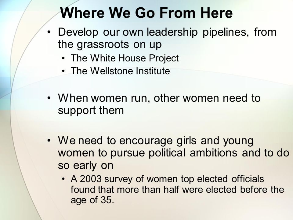 Where We Go From Here Develop our own leadership pipelines, from the grassroots on up The White House Project The Wellstone Institute When women run, other women need to support them We need to encourage girls and young women to pursue political ambitions and to do so early on A 2003 survey of women top elected officials found that more than half were elected before the age of 35.