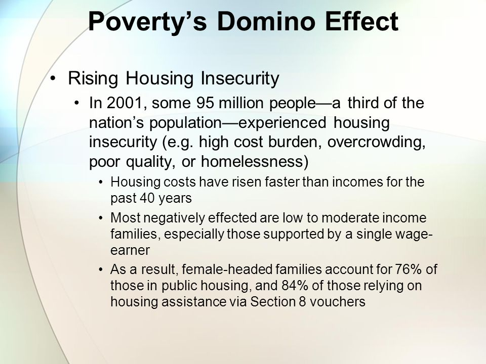 Poverty's Domino Effect Rising Housing Insecurity In 2001, some 95 million people—a third of the nation's population—experienced housing insecurity (e.g.