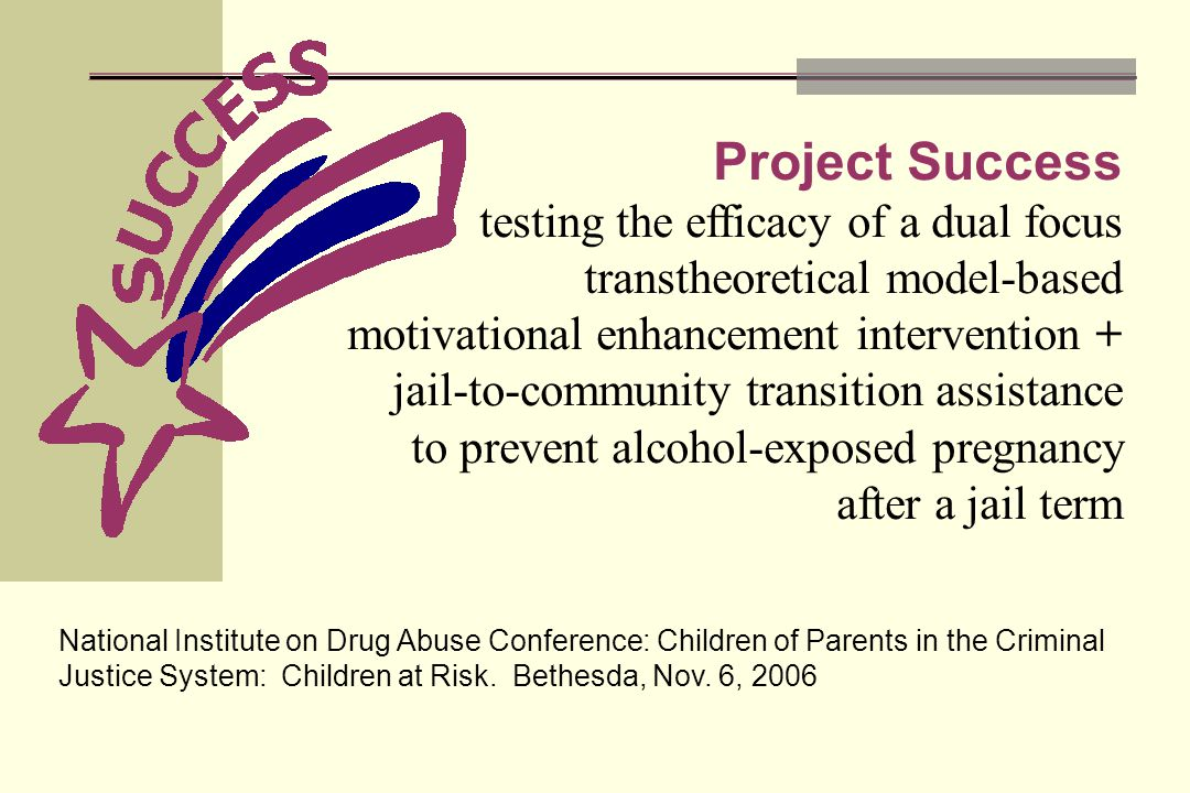 Project Success testing the efficacy of a dual focus transtheoretical model-based motivational enhancement intervention + jail-to-community transition assistance to prevent alcohol-exposed pregnancy after a jail term National Institute on Drug Abuse Conference: Children of Parents in the Criminal Justice System: Children at Risk.