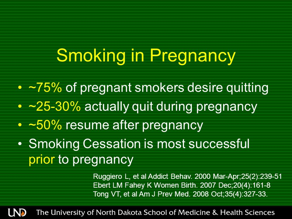Smoking in Pregnancy ~75% of pregnant smokers desire quitting ~25-30% actually quit during pregnancy ~50% resume after pregnancy Smoking Cessation is most successful prior to pregnancy Ruggiero L, et al Addict Behav.