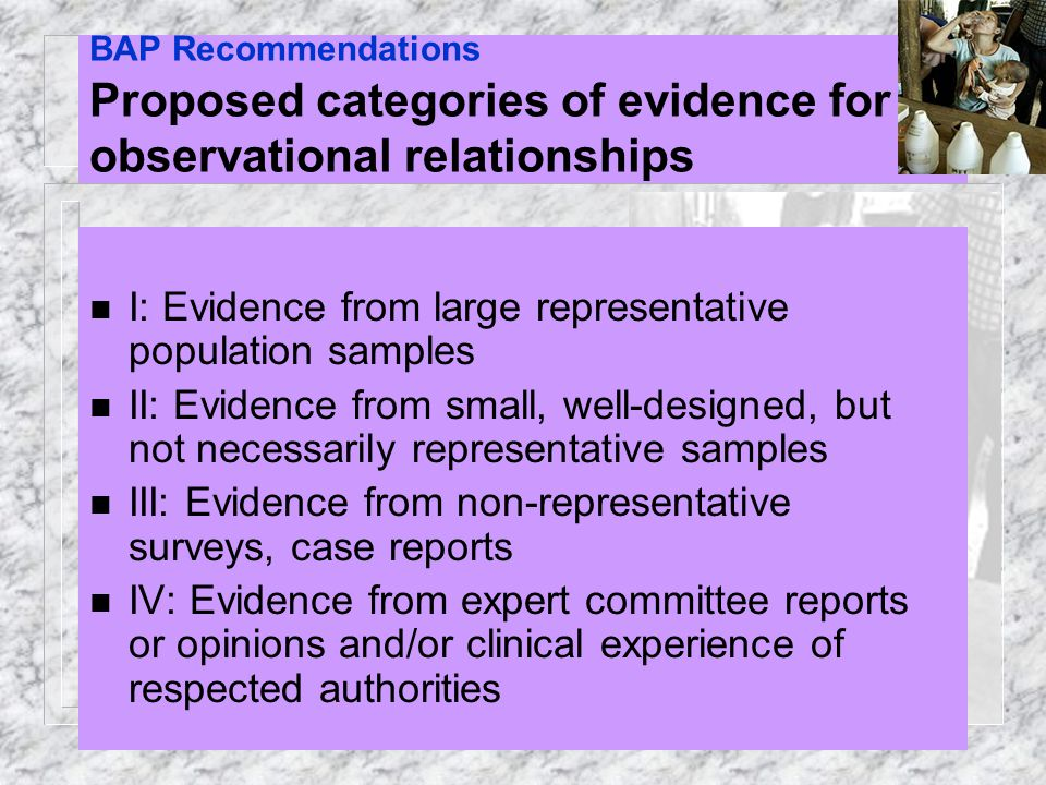 BAP Recommendations Proposed categories of evidence for observational relationships n I: Evidence from large representative population samples n II: E