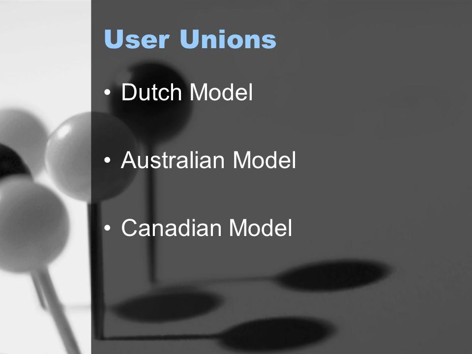 User Unions Dutch Model Australian Model Canadian Model