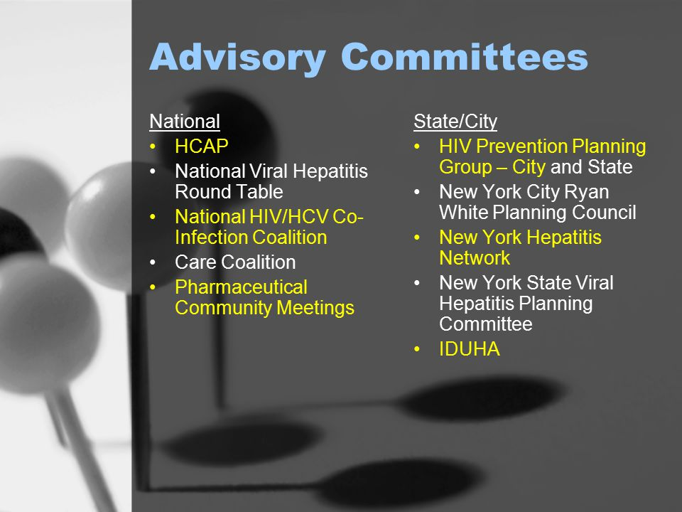 Advisory Committees National HCAP National Viral Hepatitis Round Table National HIV/HCV Co- Infection Coalition Care Coalition Pharmaceutical Communit