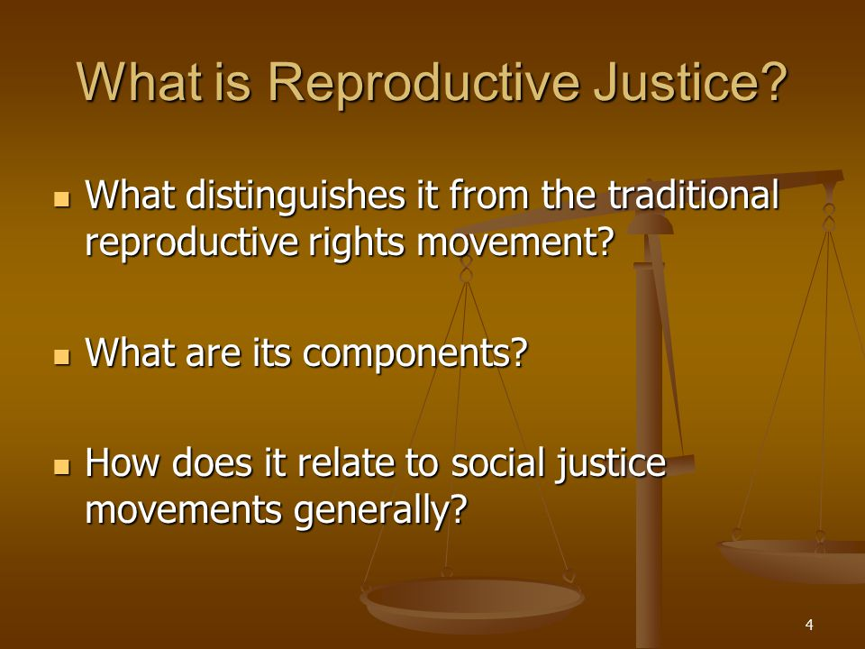 4 What is Reproductive Justice? What distinguishes it from the traditional reproductive rights movement? What distinguishes it from the traditional re