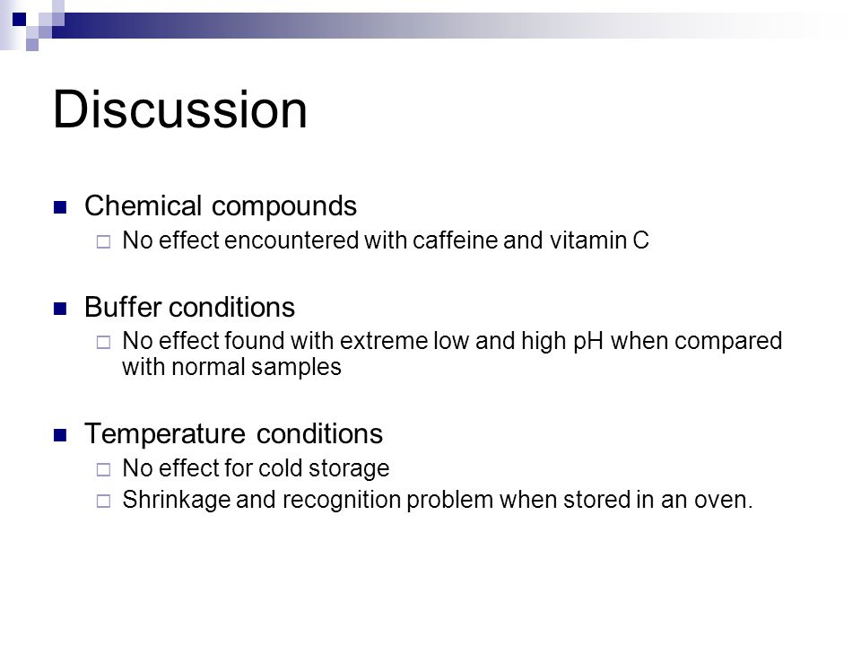 Discussion Chemical compounds  No effect encountered with caffeine and vitamin C Buffer conditions  No effect found with extreme low and high pH whe
