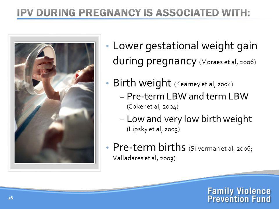 Lower gestational weight gain during pregnancy (Moraes et al, 2006) Birth weight (Kearney et al, 2004) – Pre-term LBW and term LBW (Coker et al, 2004)