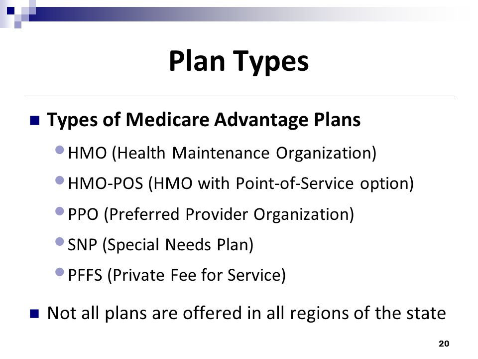 Plan Types Types of Medicare Advantage Plans HMO (Health Maintenance Organization) HMO-POS (HMO with Point-of-Service option) PPO (Preferred Provider Organization) SNP (Special Needs Plan) PFFS (Private Fee for Service) Not all plans are offered in all regions of the state 20