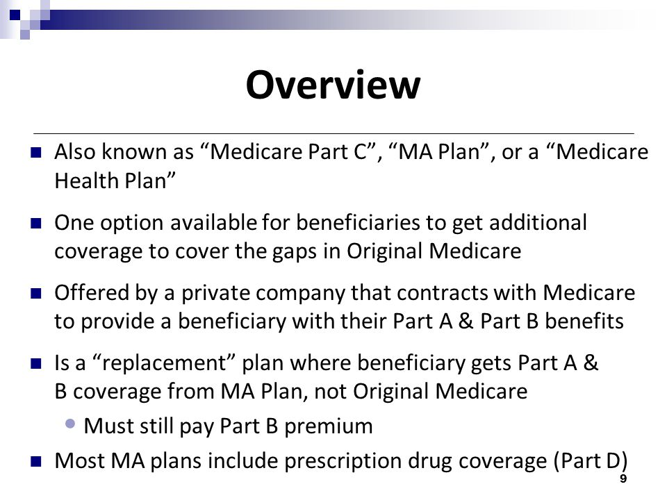 Overview Also known as Medicare Part C , MA Plan , or a Medicare Health Plan One option available for beneficiaries to get additional coverage to cover the gaps in Original Medicare Offered by a private company that contracts with Medicare to provide a beneficiary with their Part A & Part B benefits Is a replacement plan where beneficiary gets Part A & B coverage from MA Plan, not Original Medicare Must still pay Part B premium Most MA plans include prescription drug coverage (Part D) 9
