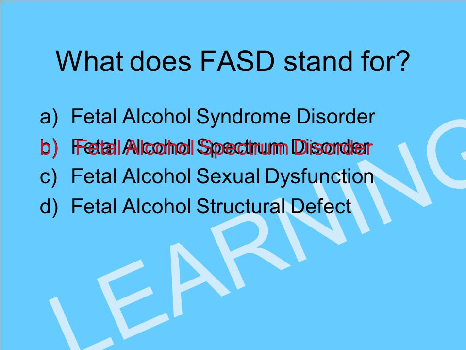 www.faseout.ca 2008 LEARNING What does FASD stand for.