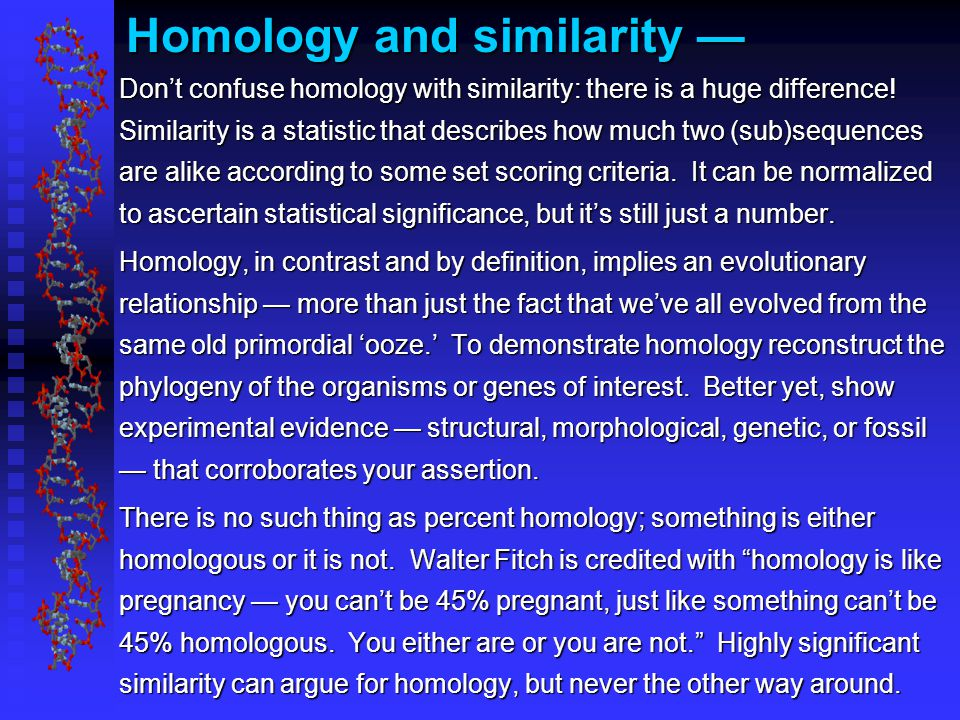 Homology and similarity — Don't confuse homology with similarity: there is a huge difference.