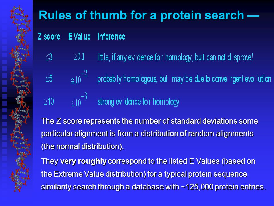 Rules of thumb for a protein search — The Z score represents the number of standard deviations some particular alignment is from a distribution of random alignments (the normal distribution).