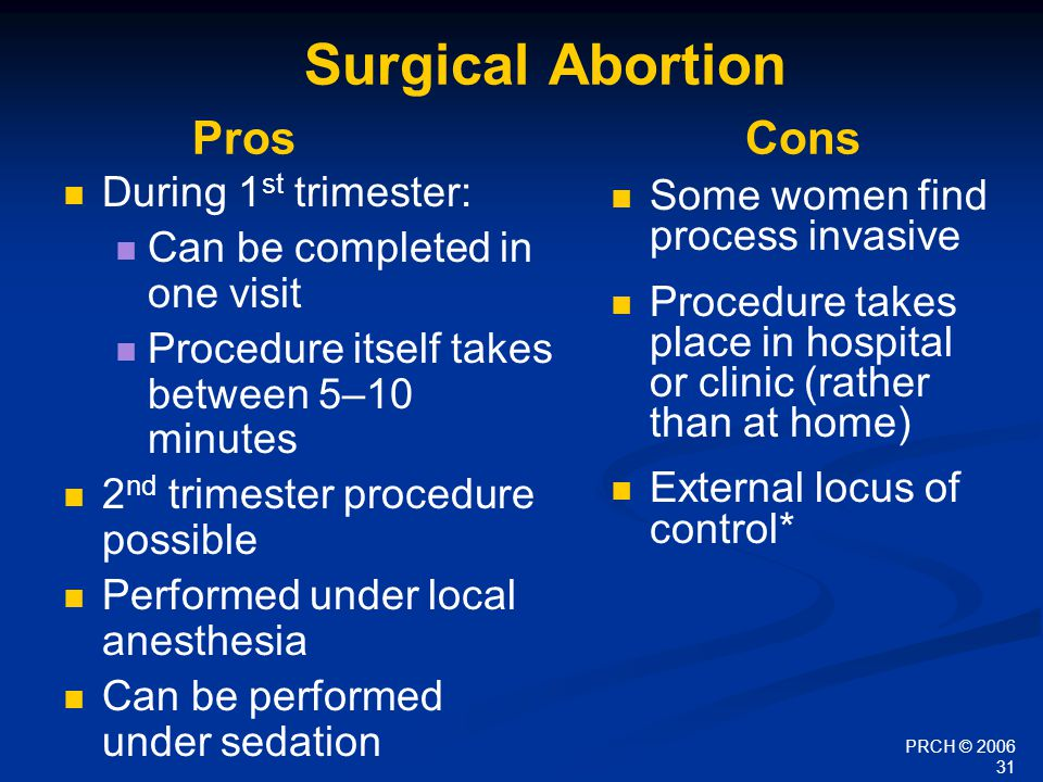 PRCH © 2006 31 Surgical Abortion Pros Cons During 1 st trimester: Can be completed in one visit Procedure itself takes between 5–10 minutes 2 nd trime