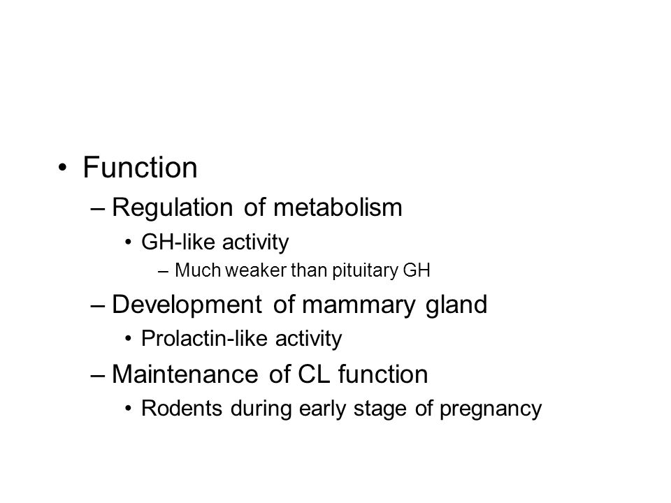 Function –Regulation of metabolism GH-like activity –Much weaker than pituitary GH –Development of mammary gland Prolactin-like activity –Maintenance of CL function Rodents during early stage of pregnancy