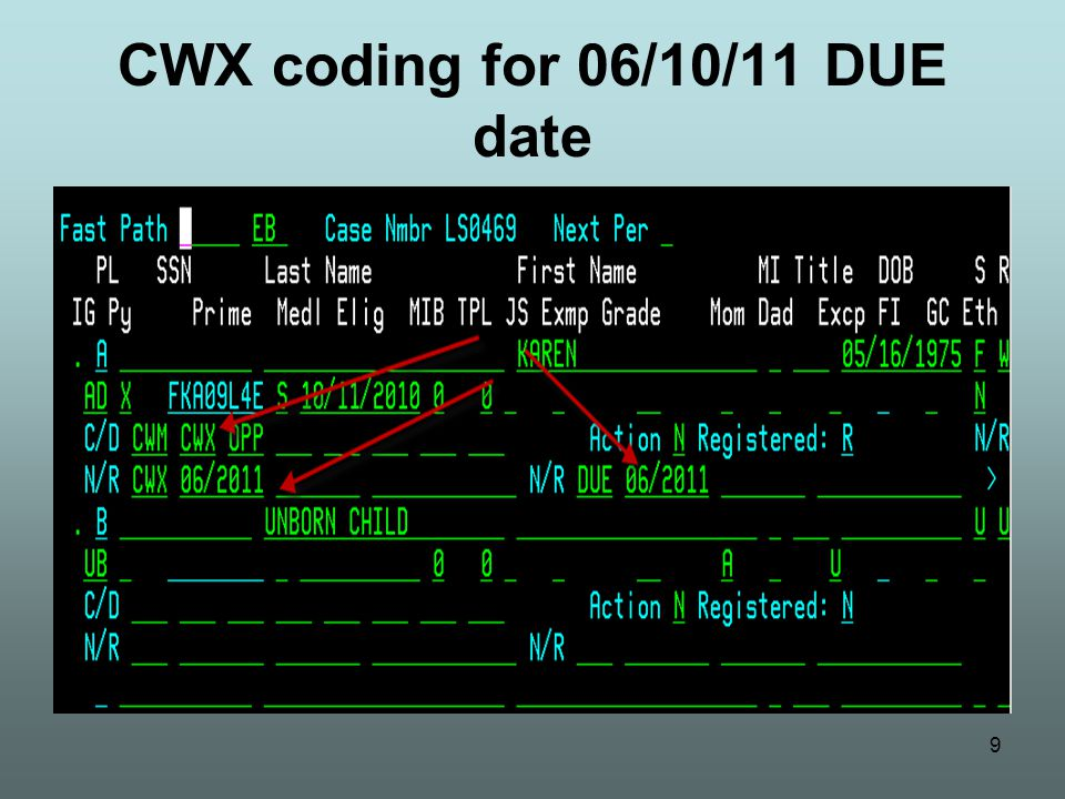20 Conversion issue – CWX end date Report will be available on View Direct around January 1 showing all cases that were converted to CAWEM Plus 5503 will work report to ensure correct CWX date is coded If due date is after the 15 th of the month, the CWX need/resource code will need to be manually changed to the next month