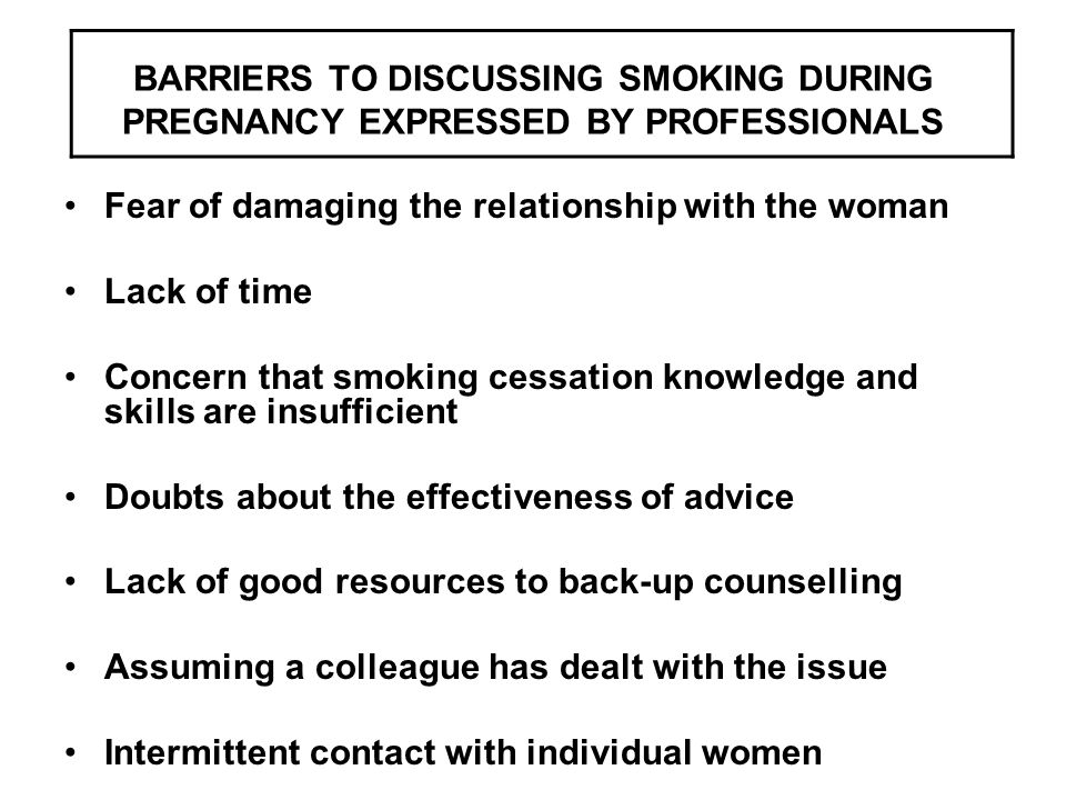BARRIERS TO DISCUSSING SMOKING DURING PREGNANCY EXPRESSED BY PROFESSIONALS Fear of damaging the relationship with the woman Lack of time Concern that smoking cessation knowledge and skills are insufficient Doubts about the effectiveness of advice Lack of good resources to back-up counselling Assuming a colleague has dealt with the issue Intermittent contact with individual women