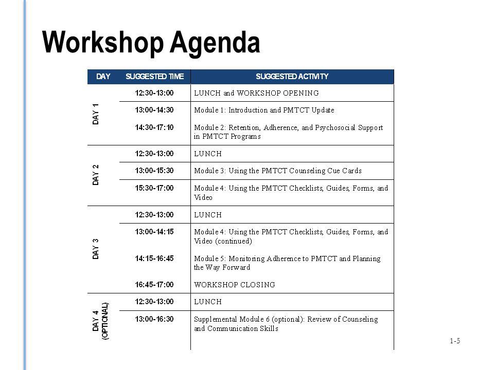 Workshop Agenda 1-5