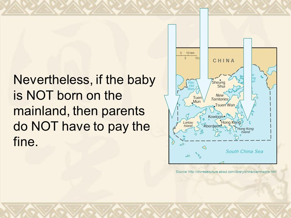 Nevertheless, if the baby is NOT born on the mainland, then parents do NOT have to pay the fine.