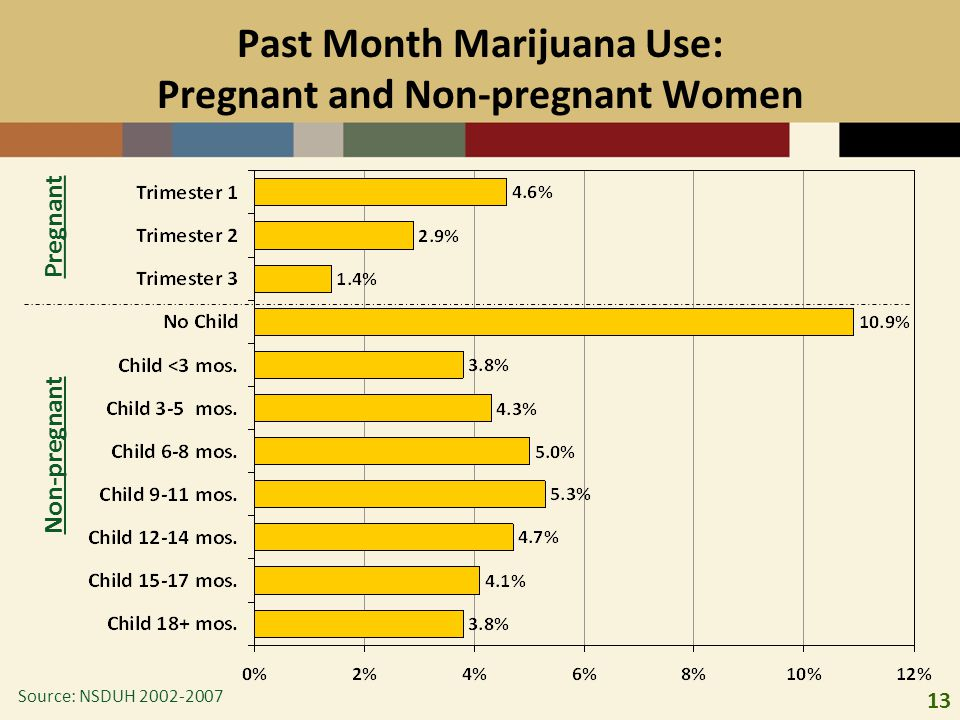 13 Past Month Marijuana Use: Pregnant and Non-pregnant Women Pregnant Non-pregnant Source: NSDUH 2002-2007