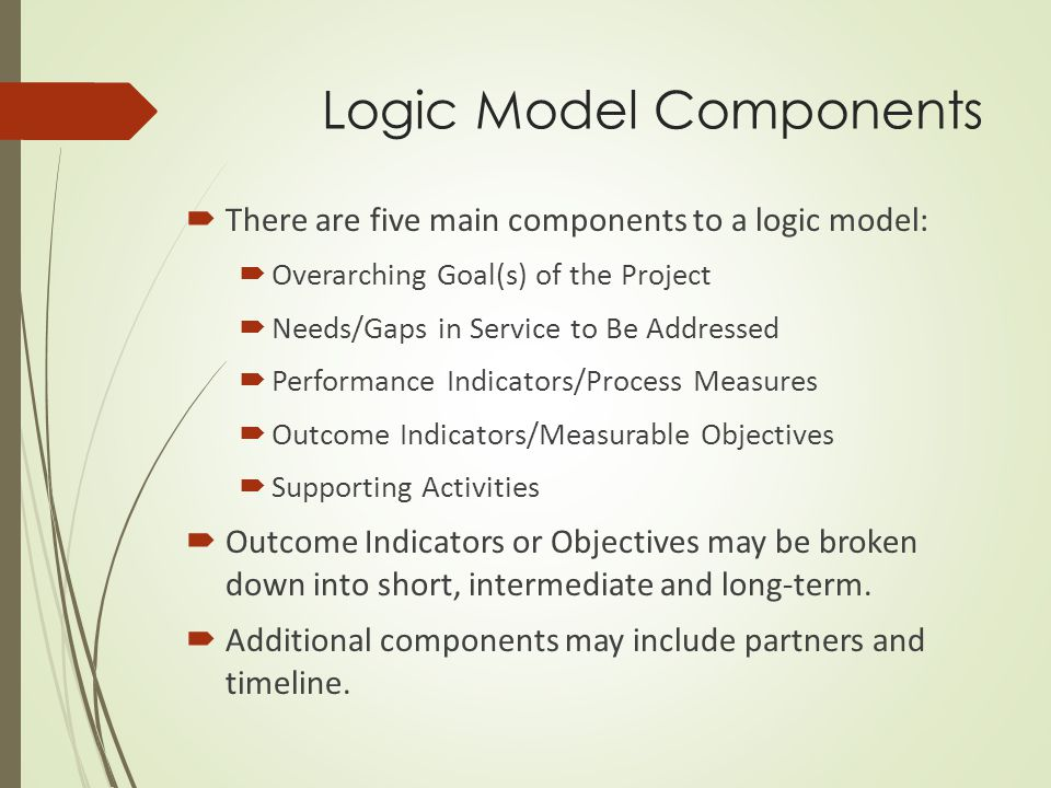  Logic models come in all shapes and sizes, but they all have one thing in common: they structure the way you address your goals, your needs, your activities, and your performance indicators (that is, your anticipated outcomes).