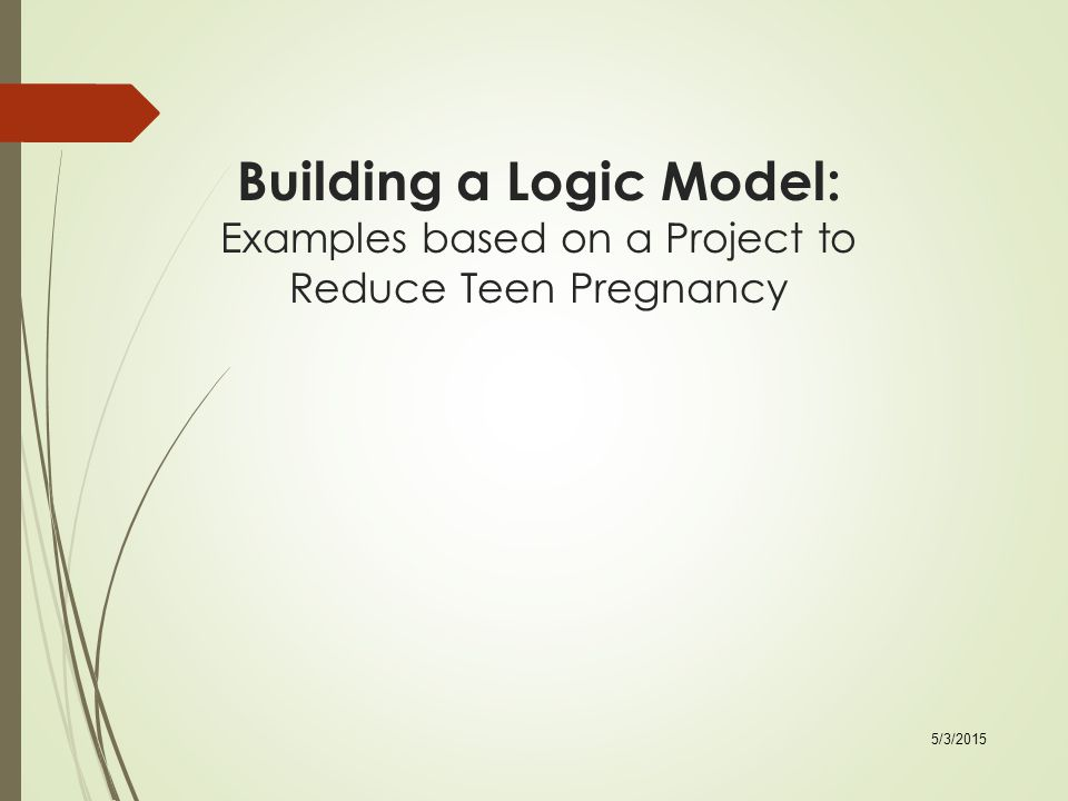 Building a Logic Model: Examples based on a Project to Reduce Teen Pregnancy 5/3/2015
