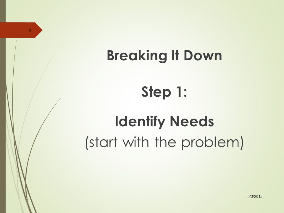 Breaking It Down Step 3: Identify Activities/Services that Will Assist in Producing the Desired Outcome