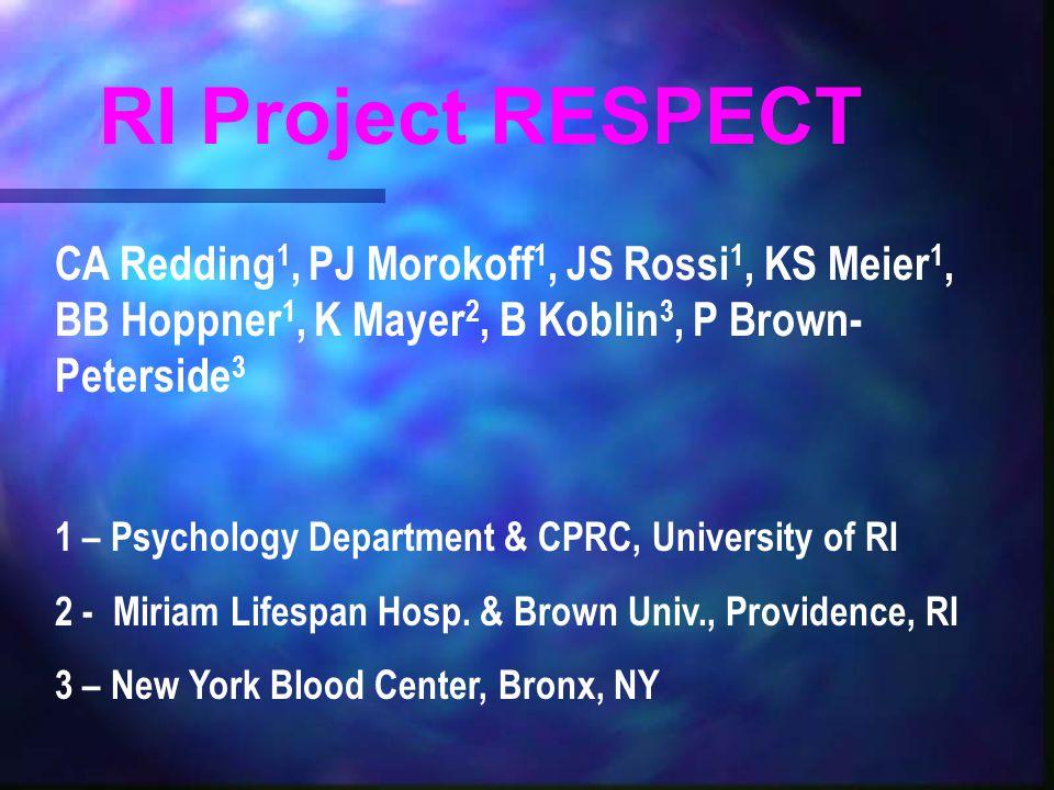 CA Redding 1, PJ Morokoff 1, JS Rossi 1, KS Meier 1, BB Hoppner 1, K Mayer 2, B Koblin 3, P Brown- Peterside 3 1 – Psychology Department & CPRC, University of RI 2 - Miriam Lifespan Hosp.