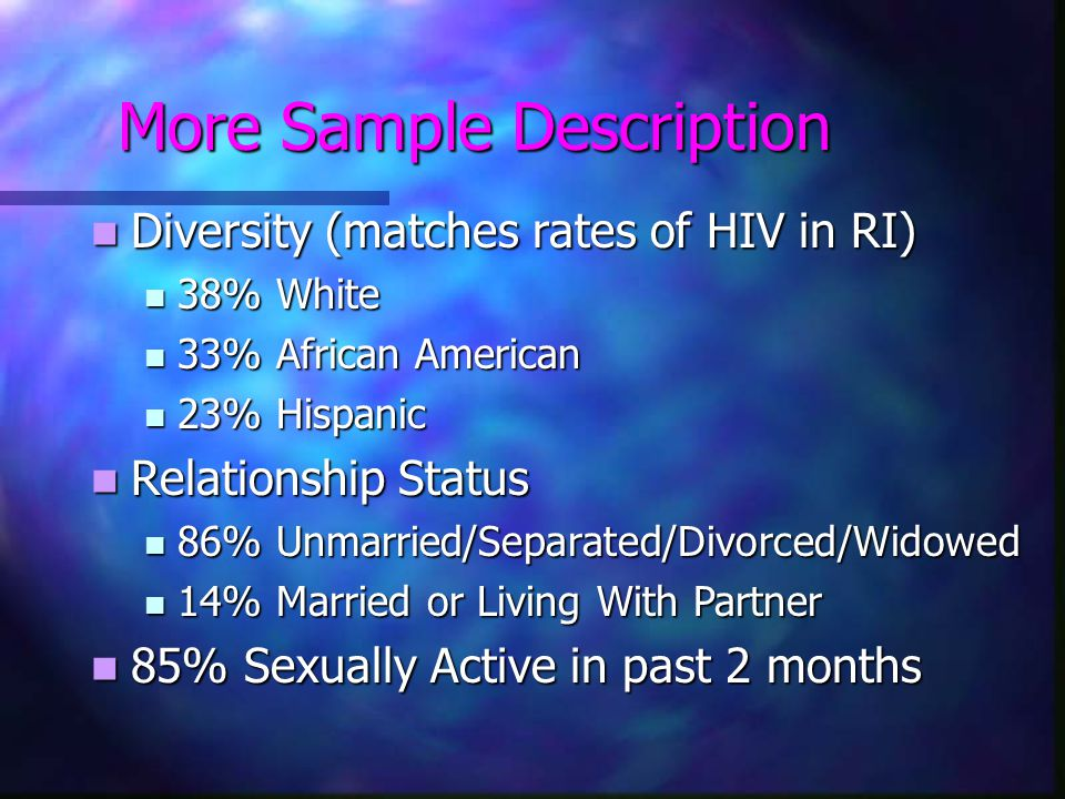 More Sample Description Diversity (matches rates of HIV in RI) Diversity (matches rates of HIV in RI) 38% White 38% White 33% African American 33% African American 23% Hispanic 23% Hispanic Relationship Status Relationship Status 86% Unmarried/Separated/Divorced/Widowed 86% Unmarried/Separated/Divorced/Widowed 14% Married or Living With Partner 14% Married or Living With Partner 85% Sexually Active in past 2 months 85% Sexually Active in past 2 months